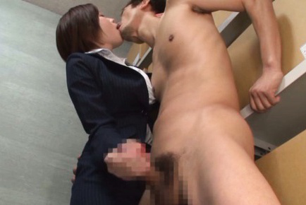 Saki okuda. Saki Okuda Asian cock sucking and strokes boss penis in the storeroom