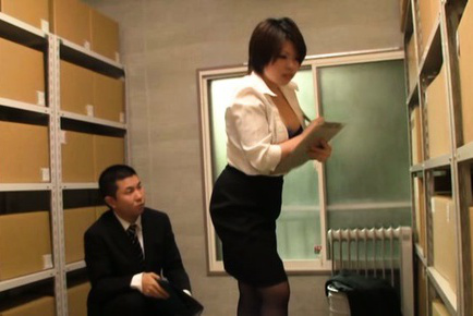 Japanese av model. Japanese AV Model has nasty hooters sucked by boss at the office