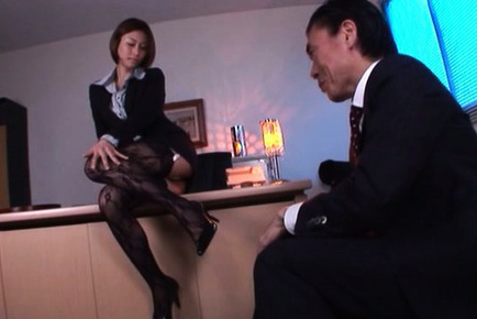 Akari asahina. Akari Asahina Asian is lascivious on office and has nipples squeezed