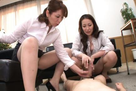 Chisato shohda. Chisato Shohda Asian and dame spread legs while stroking penis