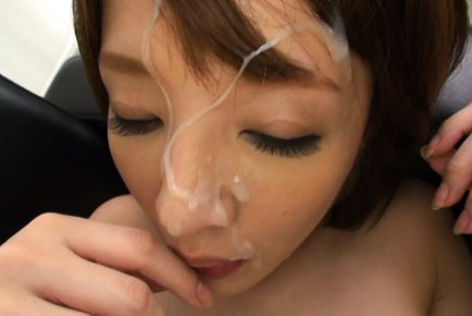Yukina. Yukina Asian has crack rubbed and gets ejaculate on face after frigging