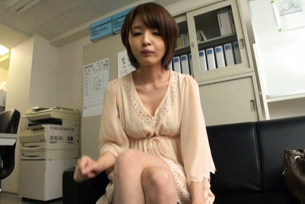 Yukina. Yukina Asian doll shows libidinous legs and hot cleavage while signing