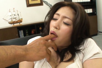 Kaori. Kaori Asian dame has stockings ripped to get dildo on beaver