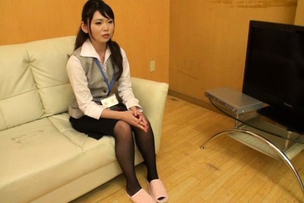 Japanese av model. Japanese AV Model touches her slit over stockings next to man