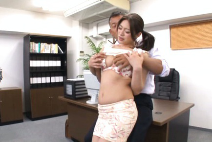 Kaori. Kaori Asian dame has cans touched and kitty eaten at office