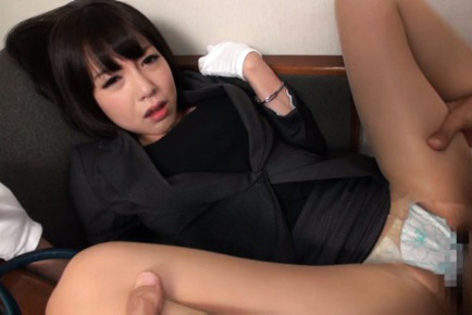 Japanese av model. Japanese AV Model with gloves and office suit has nooky pumped