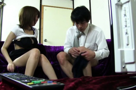 Japanese av model. Japanese AV Model blowjob penish of her boss
