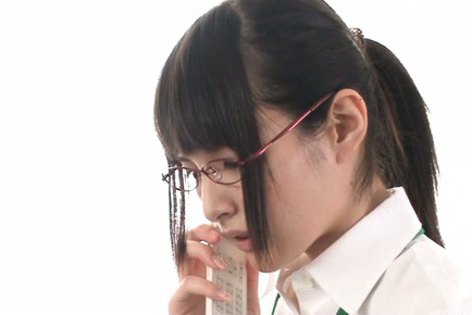 Mihono sakaguchi. Mihono Sakaguchi with specs gets colleagues fingers in mouth