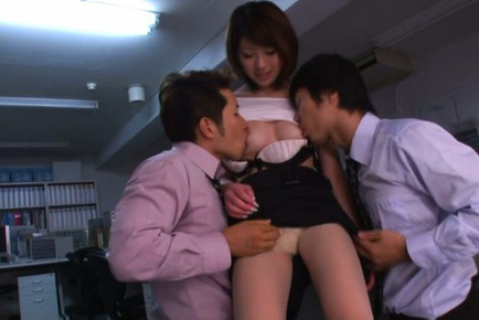Yuki ooe. Yuki Ooe Asian is undressed and has jugs sucked by colleagues