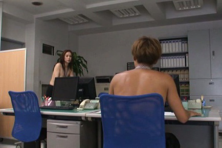 Yurie matsushima. Yurie Matsushima Asian topless in office pants wants fellow cock