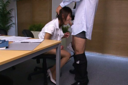 Yuki ooe. Yuki Ooe Asian in office outfit gets boss shlong in