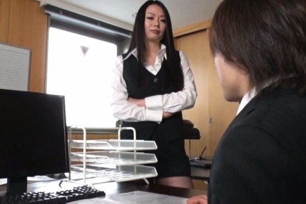 Nachi kurosawa. Nachi Kurosawa Asian rubs cock of her nude heavy tits at office