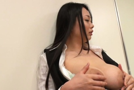 Nachi kurosawa. Nachi Kurosawa Asian fondles immense nude boobs in front of man